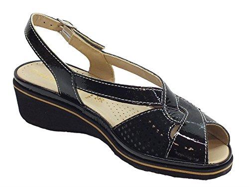 Cinzia Soft Women's Ipmary NP Naplak Nero Pois Fashion Sandals Black Qqz1gv