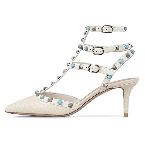 MERUMOTE - Zapatos de tacón alto con remaches Mujer White-Linien