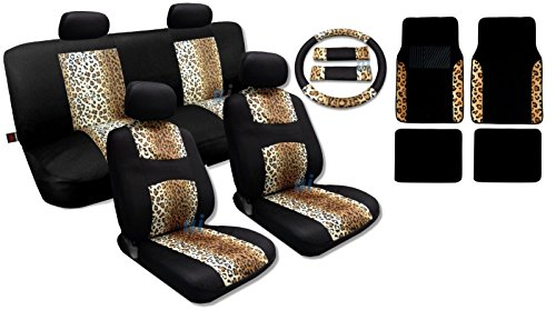 17 Piece Animal Print Seat Covers and Two Tone Floor Mats Gift Set (Two-tone Mesh, Tan Black Leopard)