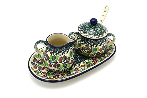 Polish Pottery Cream & Sugar Set with Sugar Spoon - Burgundy Berry Green