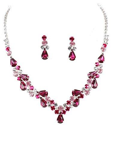 Crystal Avenue Light Pink Bright Pink Fuchsia Clear Rhinestone Teardrop Bib Necklace Set 14 Inches - Fuschia Crystals Set
