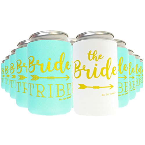 Bridal Gift Decoration - Bachelorette Party Decorations Bridal Shower Favors Can Cooler Sleeves 11pcs | Bride Tribe Gifts, Wedding Accessories, Bridesmaid, Supplies, |10 Mint Green & 1 White