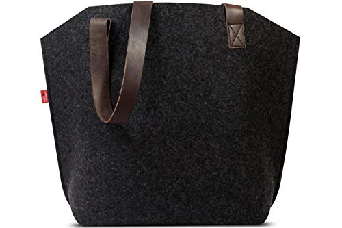 Pack & Smooch York Carryall Tote Bag for Women - Made with 100% Merino Wool Felt and Vegetable Tanned Leather Strap (Dark Grey/Dark Brown) ()