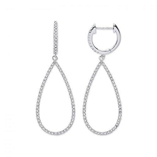 Jareeya-Or blanc 9ct 0,35CT Diamant Boucles d'oreilles pendantes