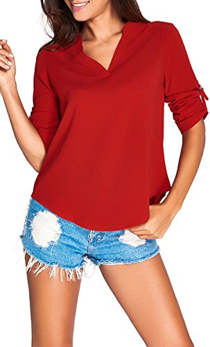 [Elady Sexy Loose Fitting Chiffon Blouse Top For Women V Neck Shirt Red (L)] (Halter Stretch Costumes)