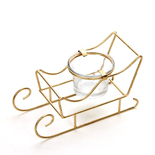 "Hosley's 5.5"" Long Sleigh Tea Light LED Candle holder. Makes a Great Decor for Christmas, Winter, Wedding Gift or Home Decor, Aromatherapy Spa O5"