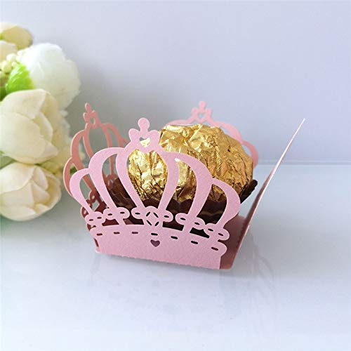 Xiaogongju 50Pcs Hollow Chocolate Wrapper Novel Crown Flowers Taffy Chocolate Packing Box Birthday Party Supplies Wedding Candy Decoration A ()