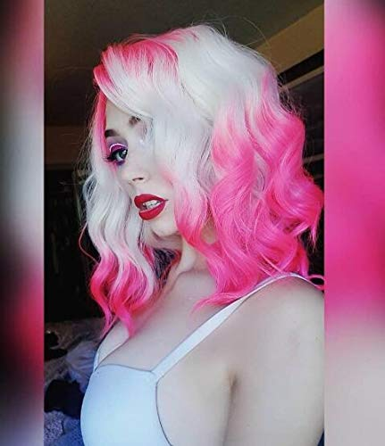 Imstyle Pink Blonde Ombre Lace Front Wigs Short Bob Wavy Wigs For Women Two Tone Color Synthetic Hair Wig Free Part With Natural Hairline Shoulder Length