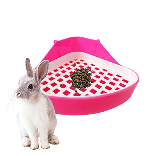 Aolvo Pet Toilet Bowl, Pet Potty Tray Small Animal Potty Training Litter Corner Box Removable Potty Pad for Rabbit Bunny Hamster Cat Chinchilla ()