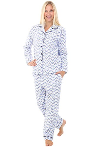Alexander Del Rossa Womens Flannel Pajamas, Christmas Theme Cotton Pj Set, Medium White Zig Zag Snowflakes with Midnight Blue Piping (A0509Q82MD)