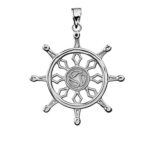 Fine Sterling Silver Wheel of the Buddhist Dharma Pendant