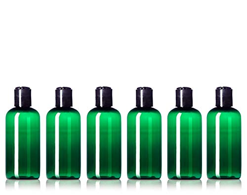 (Newday Bottles, 4 Oz Empty Plastic Bottles BPA-Free Made in USA with Disc Cap Lids, Pack of 6 (Green with Black Cap))