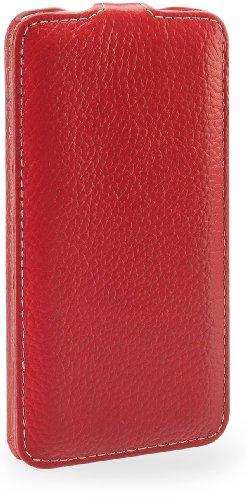 StilGut UltraSlim, funda de cuero genuino para LG G2 D802, cognac Rojo