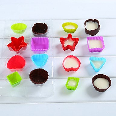 HJLHYL Set of 16 Bakeware Muffin Cup Baking Molds for Chocolate Cake Jelly (Random Colors)