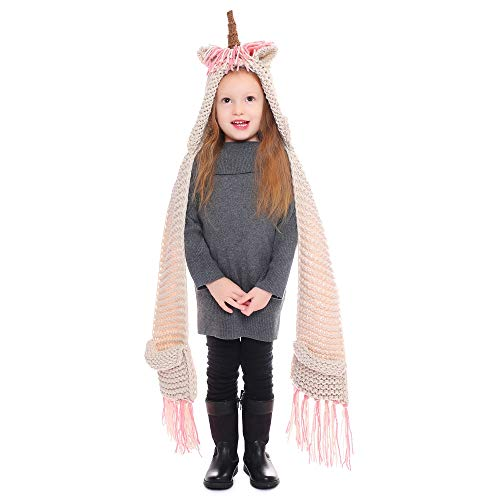 - Unicorn Crochet Cartoon Winter Hat with Scarf Pocket Hooded Knitting Beanie Cosplay (Pink)
