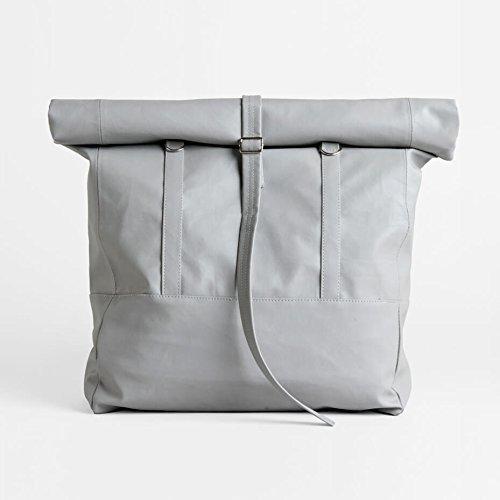 Large Convertible Backpack Tote Bag in Grey, Women Backpack, Lightweight Shoulder Bag - Travel Daypack, PU Vegan Leather Rucksack, Big Shoulder Bag by Lee Coren