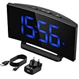Mpow Digital Alarm Clock[Brightness Upgraded], Digital Clock Bedside Mains Powered with Snooze Function, 1-Minute Easy Setting, 3.75'' Large Display Number,Perfect for Bedroom(Adapter Included)