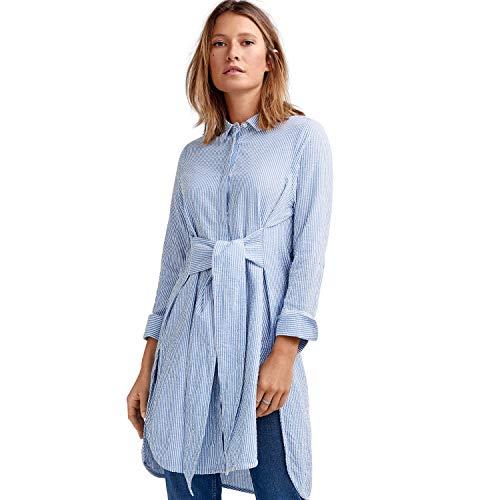 Ellos Women's Plus Size Tie-Waist Seersucker Tunic - French Blue White Stripe, 16