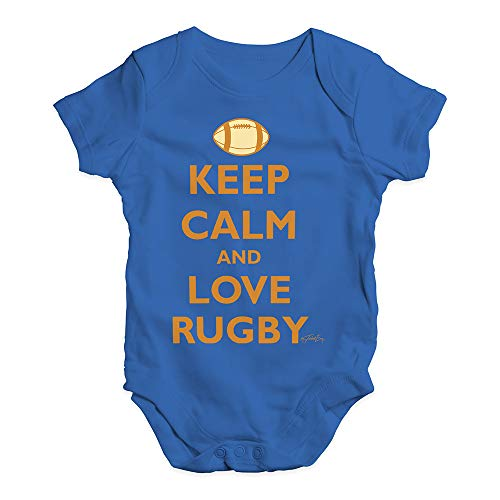 Baby Onesies Keep Calm and Love Rugby Baby Unisex Baby Grow Bodysuit 0-3 Months Royal ()