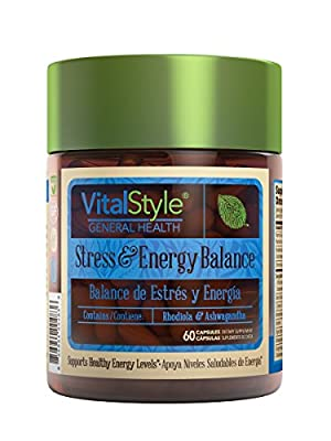 VitalStyle Stress & Energy Balance | Stress Relief, Anti Anxiety and Energy Boost Supplement to elevate mood, reduce mental and physical fatigue with Rodhiola, Panax, Eleuthero, Tyrosine & Green Tea