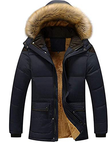 Screenes Men's Boys Jacket Winter Coat Men's Outerwear Quilted Quilted Jackets with Fur Hood Down Jacket Warm Men's Winter Jacket Blau