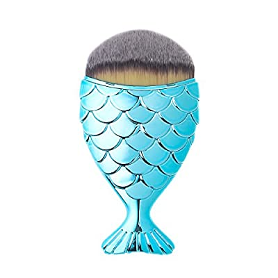Sunbowstar Multifunction Mermaid Fish Scale Makeup Brush New Fashionable Style Fishtail Bottom Brush Powder Cheeks Blush Makeup Cosmetic Brushes Tool