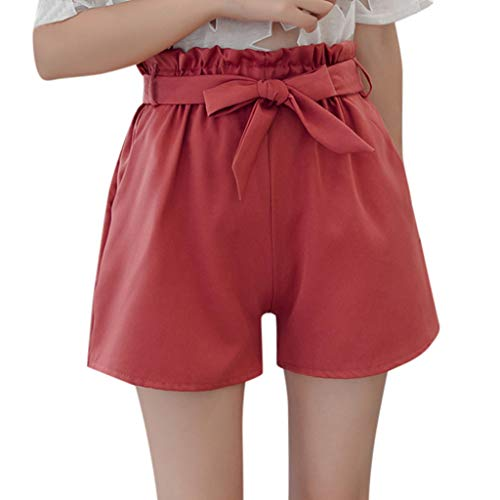ZEFOTIM ✿ Casual Pants for Women Summer Fit Solid High Elastic Waist A-Line Casual Tie up Belt Shorts Pants(Red,Small)