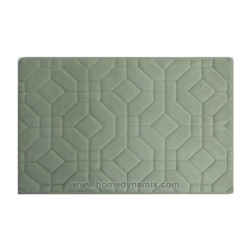Dusty Mint Green Memory Foam Bathroom Mat/rug : Day Spa Tiles Design, Soft and Absorbent, Non-skid Backing (17'' x 24'') by Day Spa