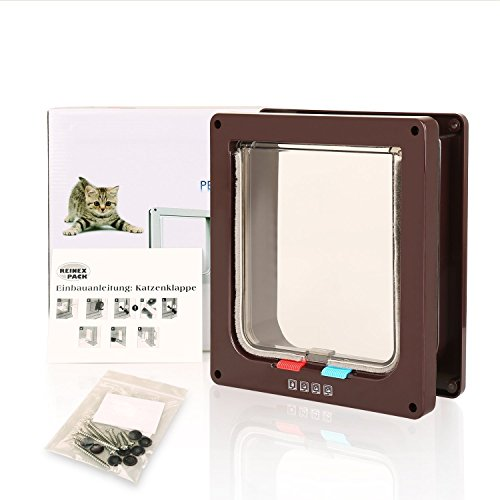 BIGWING Style Pet Flap Lockable 4 Way Locking Cat Door Brown - Usa Frame Coupon