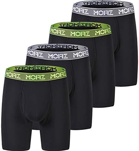 MoFiz Men's Long Leg Underwear Black Boxer Briefs Working Out Wear 4Pack Size M ()