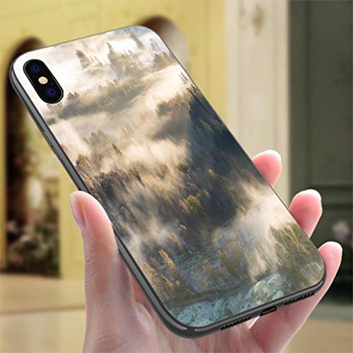 (Creative iPhone Case for iPhone Xs MAX Lingering Morning Mist Over Woodland Forest in The Lake District Resistance to Falling, Non-Slip,Soft,Convenient Protective Case)