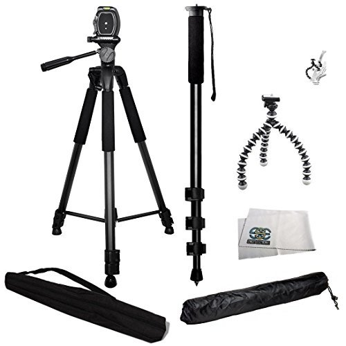 3 Piece Tripod Package For Sony Camera Alpha DSLR SLT-A33, A35, A37, A55, A57, A65, A77, A77II, A99, A100, A200, A230, A290, A300, A330, A350, A380, A390, A450, A500, A560, A550, A700, A850, A900