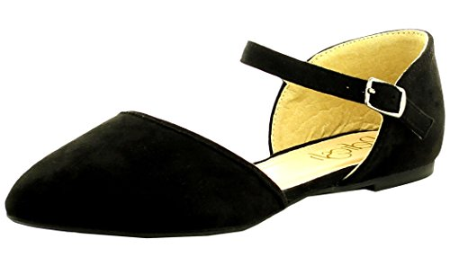 Refresh Footwear Womens Strappy Pointed Toe DOrsay Flat Black
