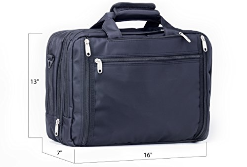 Office Factor Black Laptop Bag, Multi-functional Briefcas...
