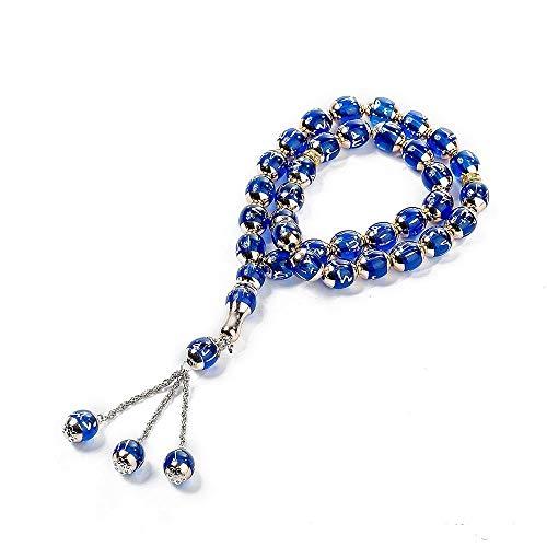 - Sandala 33-Prayer Tasbih Beads Islamic Muslim Allah Muhammad- 12mm Rosary with Portable Bag (33×12mm, Blue)