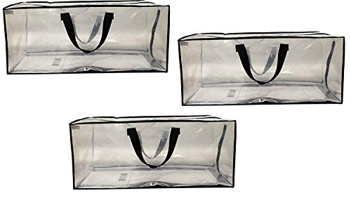 EarthWise Clear Storage Bags Heavy Duty Extra Large Transparent Moving Totes w/Zipper Closure Reusable Backpack Carrying Handles - Compatible with IKEA Frakta Hand Carts (3 Pack) (29 X 13.5 X - Totes Clear Polypropylene