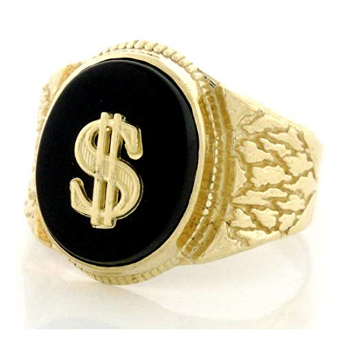 (14k Solid Gold Nugget Oval Onyx Mens Ring w/Dollar (Style# 1909) - Size 8)