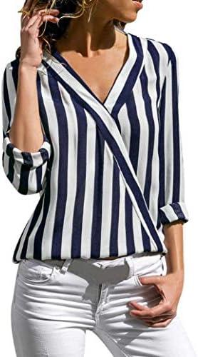 Blusa de Oficina de Trabajo Irregular de Rayas de Las Mujeres Top Camiseta Elegantes de Fiesta niña Camisa de Manga Larga Otoño señoras: Amazon.es: Ropa y accesorios