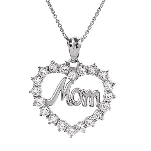 """Collier Femme Pendentif 10 Ct Or Blanc """"Mom"""" Ouvert Cœur (Livré avec une 45cm Chaîne)"""