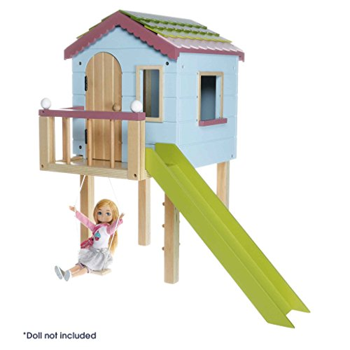 Lottie Dollhouse by LOTTIE Tree House for Lottie Dolls, Playset made with Wood and child friendly colours