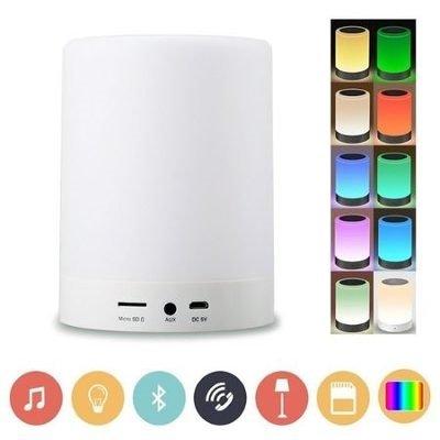 RADIO BLUETOOTH LED LUMINÁRIA DE MESA ABAJUR TOUCH COM CAIXA SOM FM USB SD SEM FIO RECARREGAVEL