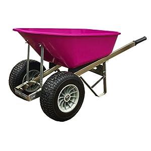 Pink Twin Wheel Wheelbarrow 120L Fatboy Puncture proof wheels