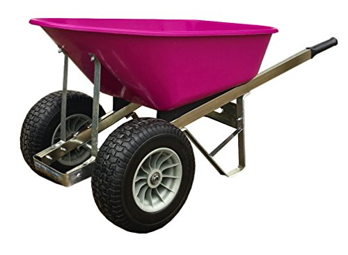 Pink Twin Wheel Wheelbarrow 120L Fatboy Puncture proof wheels