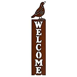 Vertical Quail Welcome Sign