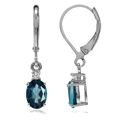 1.88ct. Genuine London Blue & White Topaz 925 Sterling Silver Leverback Earrings