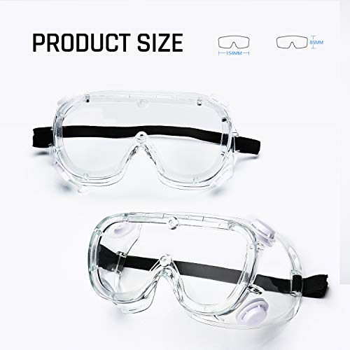 WOOLIKE Safety Goggles Industrial Goggles with Anti-fog Lens, Clear Safety glasses with Anti-Scratch UV400 protection Lens Goggles Inside Eyeglasses FA-02 (Soft frame&Clear lens)