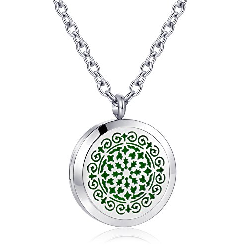 AZORA Aromatherapy Essential Oil Diffuser Necklace Stainless Steel