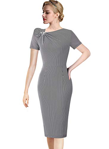 VFSHOW Womens Pleated Asymmetric Bow Neck Striped Work Business Cocktail Party Sheath Dress 2763 STP S
