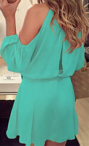 Dress Cromoncent Sleeve Pleated Women's Long Green Shoulder Chiffon Midi Cold Solid zSrOzq