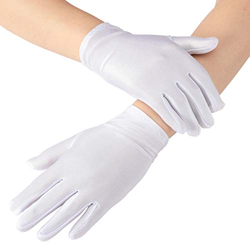 Cosweet 5 Pairs White Child Costume Gloves- Kids Size Formal Wrist Gloves for Boys and Girls Party, Wedding, Pageant, Special Occasion Parade, Banquets, Magic Show